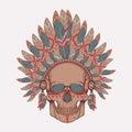 Vector illustration of human skull in native american indian