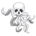 Vector illustration of a human skull with tentacles Royalty Free Stock Photo
