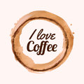 Vector illustration with `I love coffee` phrase and coffee blot