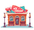 Vector illustration of ice cream shop building