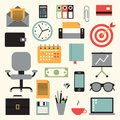 Vector illustration icon set of business: envelope, calculator, document, credit card, wallet, watch, printer, target, chair,