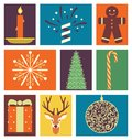 Vector illustration icon set of Christmas: candle, fireworks, cookies, snow, tree, candy, gift, deer, decoration