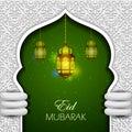 Illuminated lamp for Eid Mubarak Blessing for Eid background
