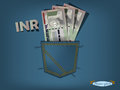 Vector illustration of indian rupee in the pocket of blue jeans Royalty Free Stock Photo