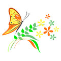 Vector illustration of insect, orange butterfly, flowers and branches with leaves,  on the white background Royalty Free Stock Photo