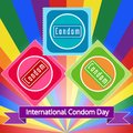 Vector illustration for International Condom Day on 14 of February. LGBT rainbow flag colors. Call for safe sex, suggestion to mak Royalty Free Stock Photo