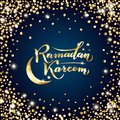 Vector illustration. Islamic Ramadan Kareem greeting isolated gold lettering text, moon, stars on night blue background