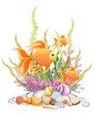 Vector illustration isolated on background Goldfish aquarium fish silhouette illustration. Colorful cartoon flat aquarium fish ico