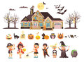Vector illustration isolated children Trick-or-Treat boy, girl, costumes fancy dresses holiday party Happy Halloween