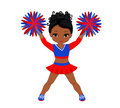Cheerleader in red blue uniform with Pom Poms