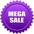 Mega sale seal stamp badge violet Royalty Free Stock Photo