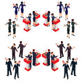 Vector illustration isometric people businessman doing a report