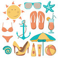 Vector illustration of items related to the beach activities Royalty Free Stock Photo