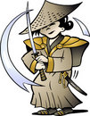 Vector illustration of an Japanese Samurai Royalty Free Stock Photo
