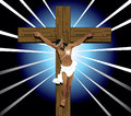 Vector illustration of jesus christ on cross easter resurrection Stock Image