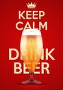 Vector illustration keep calm and drink beer poster of for the menu pubs bars restaurants editable Royalty Free Stock Image