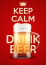 Vector illustration keep calm and drink beer poster of for the menu pubs bars restaurants editable Stock Photos