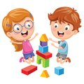 Vector Illustration Of Kid Playing With Building Blocks
