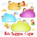 Vector illustration of kid playing on cloud for summer camp Stock Images