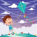 Vector Illustration Of Kid Playing Kite