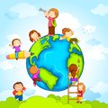 Vector illustration kids climbing around earth Royalty Free Stock Image
