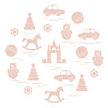 Vector illustration kids elements arranged in a circle: car, pyr