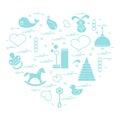 Vector illustration kids elements arranged in a heart: bird, wha