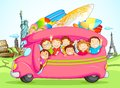 Vector illustration of kids enjoying school trip Stock Images