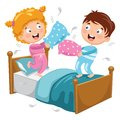 Vector Illustration Of Kids Playing Pillow Fight Royalty Free Stock Photo