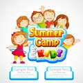 Vector illustration of kids summer camp poster Royalty Free Stock Image
