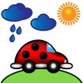 Vector illustration ladybug car under clouds & sun Royalty Free Stock Photo