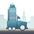 Vector illustration large truck moving office building Royalty Free Stock Photography