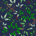 Vector illustration of leaves and berries pattern