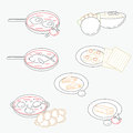 Vector illustration of line Israeli culture food icons. Royalty Free Stock Photo