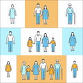 Vector illustration in linear style flat icons with people family mother father daughter son grandfather grandmother of Stock Photo