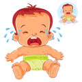 Vector illustration little baby in diapers cries