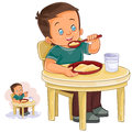 Vector illustration of a little boy eating breakfast