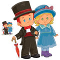 Vector illustration of a little boy and girl dressed in period costumes.