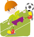 Vector illustration little football player Stock Photography