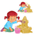 Vector illustration of a little girl is building a sand castle Royalty Free Stock Photo