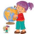 Vector illustration of a little girl hugging the globe