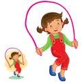 Vector illustration of little girl jumping rope.