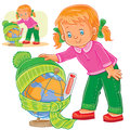 Vector illustration of a little girl measuring the temperature of a globe and dressing it in warm clothes