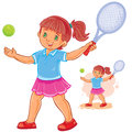 Vector illustration of little girl playing tennis