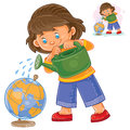 Vector illustration of a little girl watering a globe from a watering can.