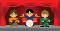 Vector illustration of live band playing on stage Royalty Free Stock Images