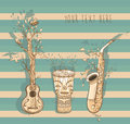 Vector illustration of live music with guitar, saxophone, djembe