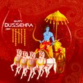 Lord Rama killing Ravana in Happy Dussehra festival of India