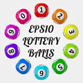 Vector illustration of lottery balls. sorted around text.