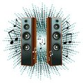 Vector illustration with loudspeakers and notes Royalty Free Stock Photo